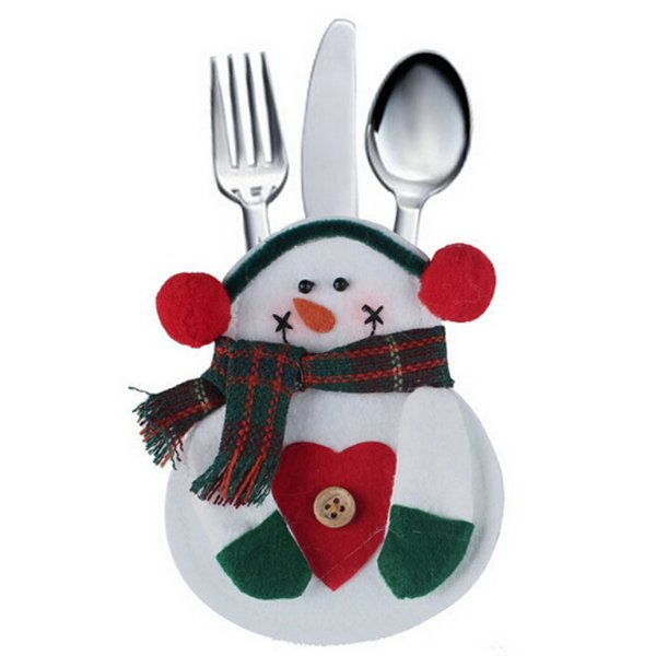 Christmas Snowman Holder Cutlery Tableware Dinner Party Decor