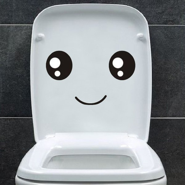Smiling Face Toilet Sticker Toilet Seat Wall Sticker Decal