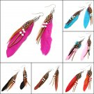 Indian Leather Hen Feather Dangle Bead Ear Drop Earrings Party