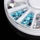 6 Size 3D Crystal Glitter Rhinestone Nail Art Decoration Wheel