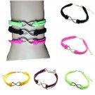 Multicolor Silver Infinity Charm Bracelet Metal Leather Bracelet