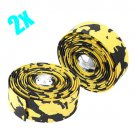 2x Bicycle Cork Handlebar Tape Wrap + 2 Bar Plug Yellow