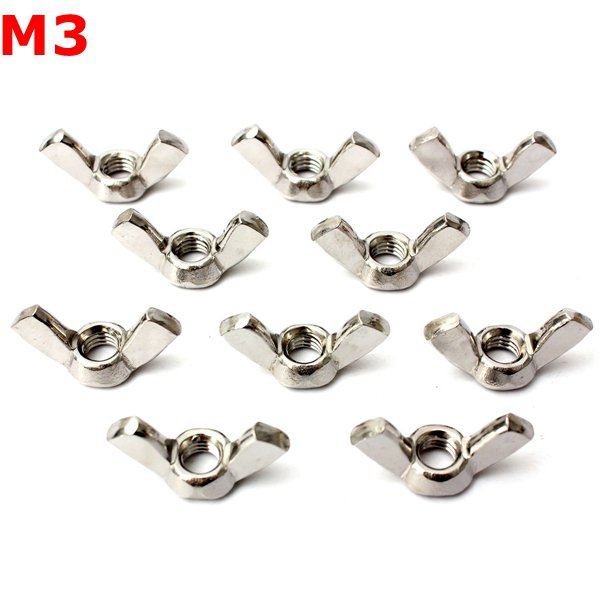 10pcs 304 Stainless Steel M3 Wing Nut Butterfly Nut Metric Thread
