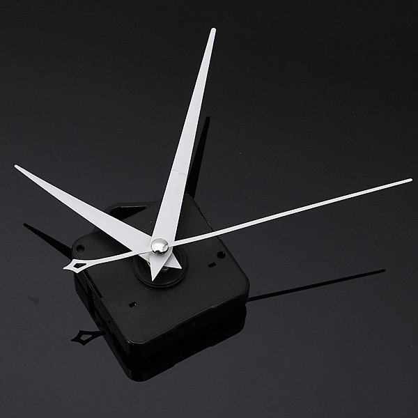 DIY White Triangle Hands Quartz Black Wall Clock Movement Mechanism
