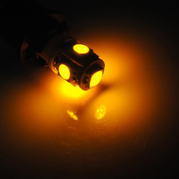 T10 194 168 Car Side Amber 5 SMD LED Wedge Bulb Light
