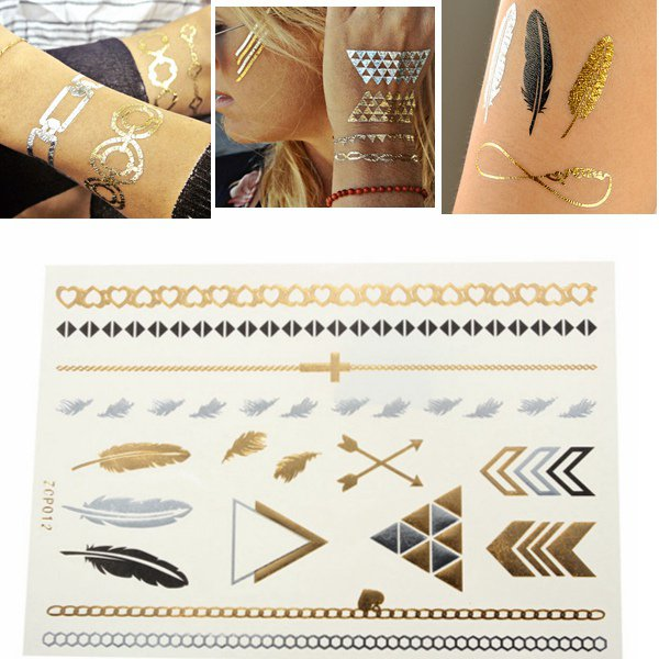 Gold Silver Feather Metallic Temporary Tattoos Body Art Sticker