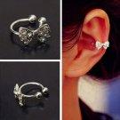 1pc Silver Bowknot Bow Rhinestone Crystal Cuff Clip Earring