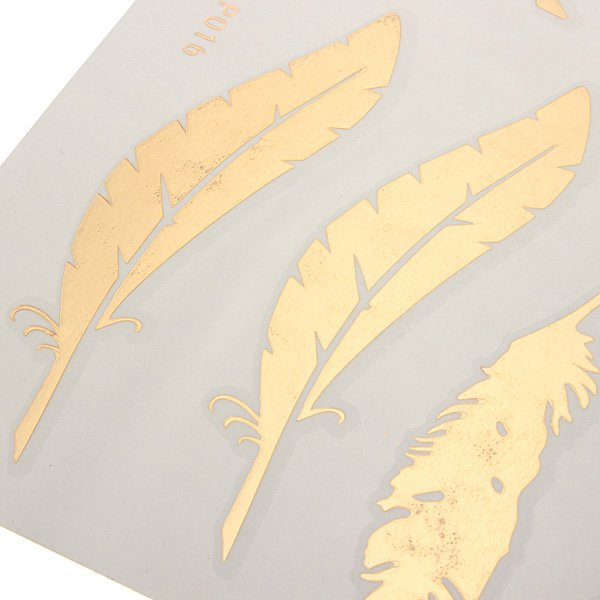 Metallic Temporary Gold Bird Feather Arrow Tattoo Sticker