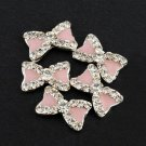 5pcs Rhinestone Pink Bow Bowknot Nail Design  Decorations
