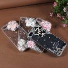 3D Bling Crystal Flower Transparent Case Cover Skin For iPhone 5