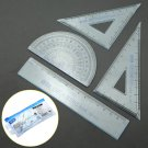 4 Pcs School Maths Set Plastic Protractor Square Ruler Set