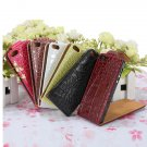 Vertical Crocodile PU Leather Up And Down Flip Case Cover For iPhone 5