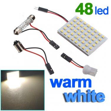 Panel 48 SMD LED Bulb Lamp T10 Dome Bulb BA9S 12V DC Adapter