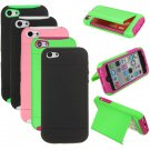 Credit Card Holder Hybrid Rubber Case Cover With Stand For iPhone 5C