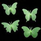 Set 4 Fluorescent Glow In Dark Butterfly Plastic Wall Sticker
