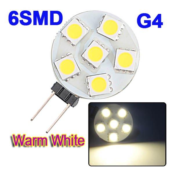 G4 6-5050 SMD LED Warm White Light Bulb Lamp Car Marine