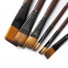 6PCS Brown Tip Nylon Paint Brushes For Art Artist Supplies