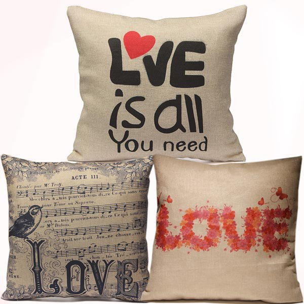 Love Pillow Case Cotton Linen lovers Pillowcase