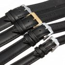 Soft Sweatband Black Genuine Leather Wrist Watch Band Strap 4 Size