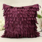 Satin Leavese Design Pillow Case Home Office Car Cushion Cover