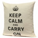 Linen Retro Crown Keep Calm Pillow Case Home Decor Cushion Cover