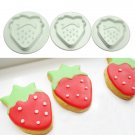3pcs Strawberry Cake Mold Cookie Plunger Cutter Sugar Craft Mould