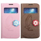 Flower Flip View Window Leather Cover Case For Samsung Galaxy S4 i9500