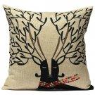 Linen Cotton Elk Antler Pattern Pillow Case Home Office Cushion Cover