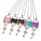 Vogue LOVE Heart Padlock Key Chain Pocket Watch Locket Necklace