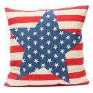 Linen Stars Stripes Flag Throw Pillow Case Sofa Cushion Cover