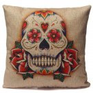 Funny Skull Designs Pillow Case Cotton Bed Office Car Cushion