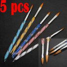 5X NEW 2 Ways Acrylic Nail Art Brush Pen Cuticle Pusher