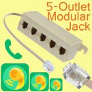 Brand New 5 Outlet Telephone Phone Splitter Line Jack