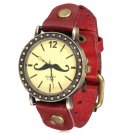 Retro Mustache Beard Leather Wrap Quartz Bracelet Wrist Watch