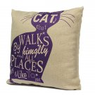 Linen Cartoom Cats Throw Pillow Case Cushion Cover Home Decor