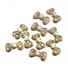10pcs Gold Rhinestone Alloy Acrylic Bow Tie Nail Art DIY Decoration
