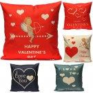Love Couple Red Heart Throw Cotton Linen Pillow Case Cushion Cover