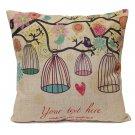 Birdcage Series Cotton Linen Sofa Pillowcase Decorative Cushion Cover
