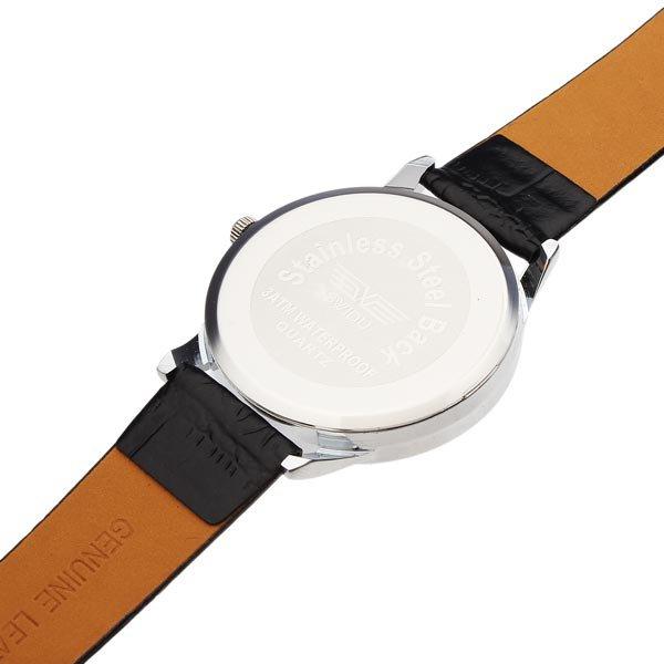 Fashion Black White Leather Men Women Quartz Wrist Watch