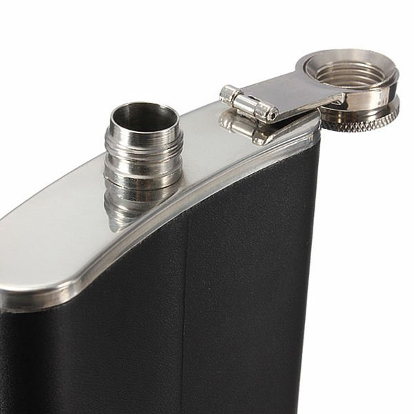 8oz 304 Stainless Steel Leather Hip Flask Alcohol Pocket Flagon Stoup