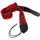 Guitar Bass Strap Red Black Flame Leather Head End Rock Punk