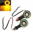 2x Motorcycle Round Hollow Turn Signals Lights 12V 12 LED Amber