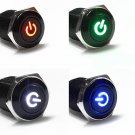 Car Angle Eye Power Push Button Latching Switch 12V LED Metallic