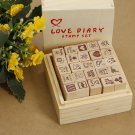 Antique Wooden Boxes Love Diary Pattern Stamps Rubber Drawing Art