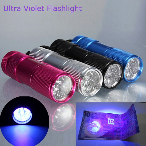 385-400nm 9 x UV LED Ultra Violet Flashlight Torch AAA
