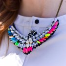 Vintage Colorful Rhinestone Eagle Bib Statement Chain Necklace Jewelry