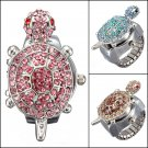 Fashion Tortoise Rhinestone Crystal Quartz Finger Ring Watch