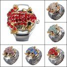 Fashion Steel Frog Rhinestone Crystal Finger Ring Watch