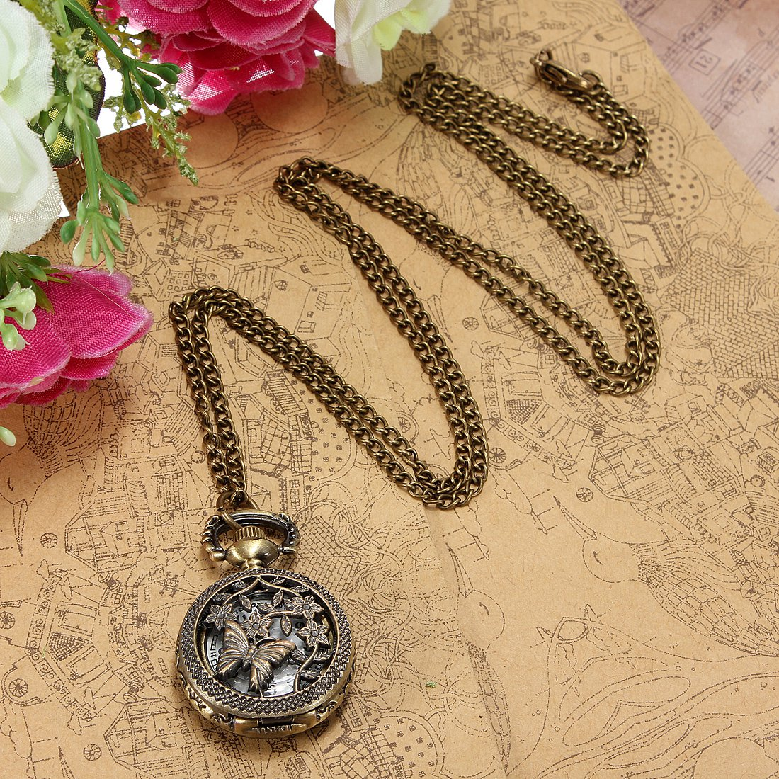 Vintage Bronze Butterfly Style Pocket Watch Pendant Necklace