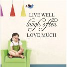42*32cm Live Well Love Much PVC Wall Sticker Wallpaper ZY8122